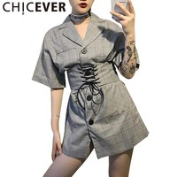 Vintage Summer Dress Women Female Plaid Slim Lace Up Short Sleeve Wild Dresses Clothes Fashion New