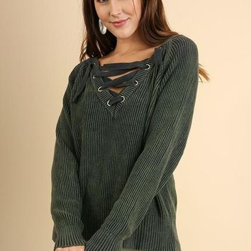 Forest V-neck Drawstring Sweater