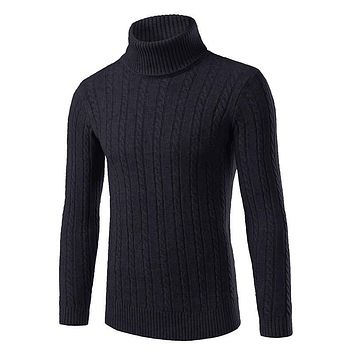 The 2016 men's fashion brand new winter sweater slim turtleneck sweater warm male.