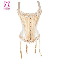 Corzzet Victorian Beige Satin Steel Boned Strap Overbust Corsets And Bustiers Waist Slimming Sexy Lingerie Gothic Corset S-2XL