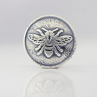 ONE Handmade Button Clasp (BC6s) Sterling Silver Bee Button Clasp, Handmade Jewelry Supplies, Artisan Chan Luu Wrap Bracelet Button Clasp