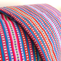 Tribal Fabric, South American Textile, Blanket, Ethnic, Navajo, Blue Colorful Stripes, 2.5 Meters / over 2.5 Yards