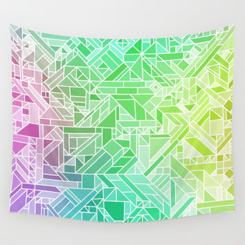 Bright Gradient (Violet Purple Lime Green Neon Yellow) Geometric Pattern Print Art Print by AEJ Design