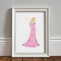 Aurora, Sleeping Beauty WATERCOLOR Art illustration, Disney Inspired Princess, Wall Art, Nursery, Digital Poster Print, INSTANT DOWNLOAD