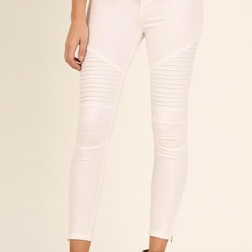 Umgee Women's Moto Ankle Pants White