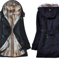 Demarkt Jaqueta Feminina New Fashion Faux fur double-layer Women's Hoodies Ladies Coats Winter Warm Long Coat Jacket down parka = 1929951940