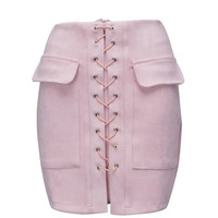 Pink Faux Suede Lace Up Front Pencil Mini Skirt
