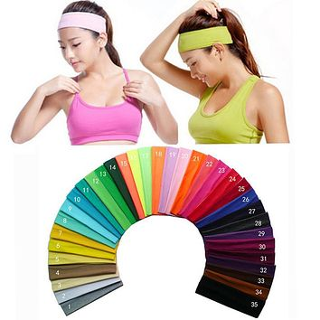 2 inch Solid Cotton Headband Sports Softball Sweatband Hair Band Bandage On Head Turban Bandana Elastic