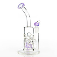 Swiss Honeycomb Mini Bong by Purr Glass - Purple - 14mm - 9 Inches