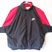 Vintage NIKE 90s Windbreaker Dark Red Maroon Black Sz XL Retro Light Jacket Track suit Air Jordan Bred Maroon 6 Flu Game
