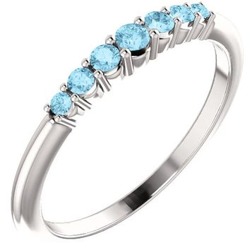 Ben Garelick Round Cut Stackable Aquamarine Ring