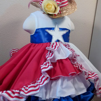 Made to Order Dress Yellow Rose Texas Flag OOC Glitz Red White Blue Party