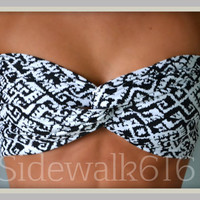 Black White Tribal Bandeau Top Spandex Bandeau Bikini Swimsuit