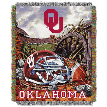 Oklahoma Sooners NCAA Woven Tapestry Throw (Home Field Advantage) (48x60)