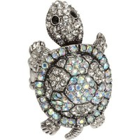 Heirloom Finds Aurora Borealis Crystal Moving Turtle Ring