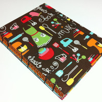 Fabric Blank Recipe Book - Handmade Coptic Stitched - Mix and Bake