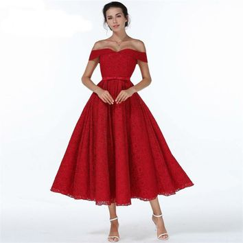Wine Red Strapless Off The Shoulder Short Sleeve Backless Lace Up Cocktail Gowns Tea Length Formal Dress