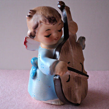Angel Figurine Playing Bass Fiddle, Lefton Vintage Angel Statue, Christmas and Home Decor Gift, Great Secret Santa or Stocking Stuffer Gift