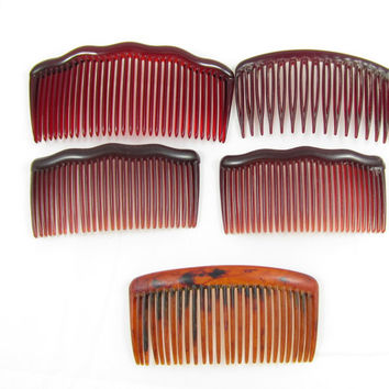 large faux tortoise shell hair combs/ lot of hair combs/ tortoise shell hair clips/ vintage combs/ brown combs/ large hair combs