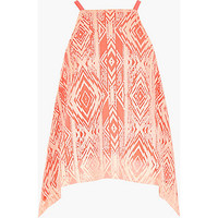 River Island Girls orange Aztec print hanky hem top