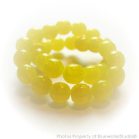 SUNNY BUNNY yellow round czech glass beads, 6mm, 30pc (dr07) new