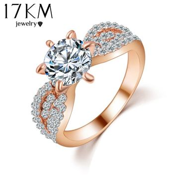 17KM Romantic Wedding Crystal Rings Rose Gold Color Big Cubic Zircon Womens Fashion Jewellery Ring Full Size Anillos