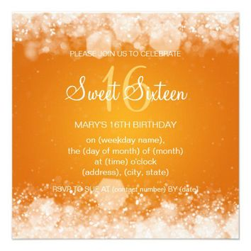 Sweet Sixteen Party Sparkling Night Orange Personalized Invitations from Zazzle.com
