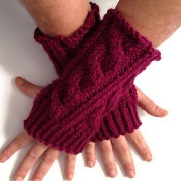 Fingerless Gloves Wrist Warmers in Mixed Berry Cable Handknit