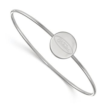 NCAA Sterling Silver U, of Mississippi 'Ole Miss' Bangle, 7 Inch