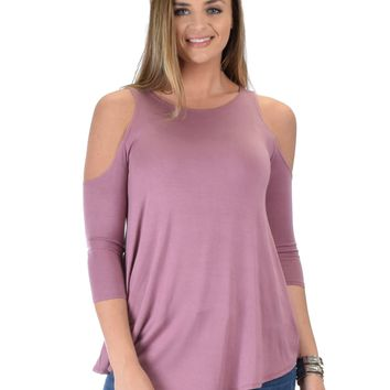 Lyss Loo In Good Company Cold Shoulder Mauve 3/4 Sleeve Top