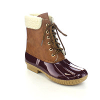 Fur Rubber Two Tone Lace Up Combat Style Ankle Rain Duck Boots