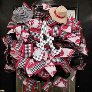 Alabama Crimson Tide Football Wreath, Roll Tide Decoration, Alabama, Football
