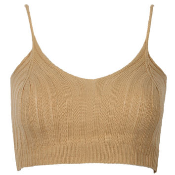 Khaki Spaghetti Strap Knit Crop Top