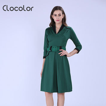 Autumn Winter Elegant Office Dress Green A Line Women Work Dress 3/4 Sleeve V Neck Knee Length Vintage Office Dress