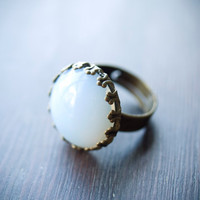 Vintage Moon - Vintage Opalite Glass Ring - Milk White Jewelry - Vintage Cabachon - Antiqued Brass Crown Setting