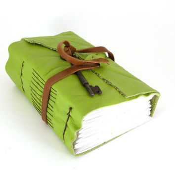 Apple Green Chunky Leather Journal (lg)- christmasinjuly