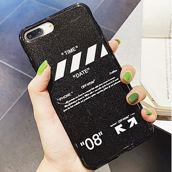 Off White Fashion New Letter Cross Arrow Print Protective Cover Phone Case Black