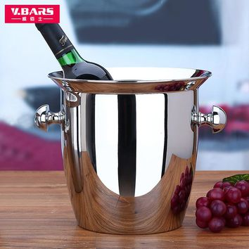 good quality red wine ice-pail cooler box thickening stainless steel champagne bucket big Small ice bucket  wine cooler