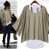 Casual Womens Summer Trendy Bat Sleeve T-shirt&Vest