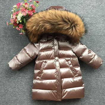 Classic warm outerwear Hooded Long Down Coat Brand Design Children Down Jackets Large Natural Fur Collar Parkas champagne gold
