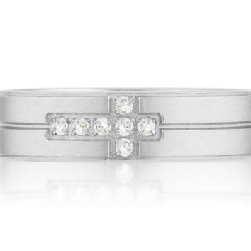Dorian Cross Design Fashion Steel Band Men Ring  | 1 Carat | Stainless Steel | Cubic Zirconia