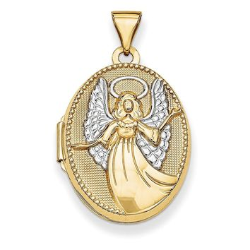 14k Yellow Gold W/rhodium 21mm Oval Guardian Angel Locket