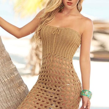 Brown Strapless Crochet Beach Dress