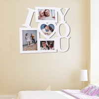 "ADECO PF0002 4-Opening White Wooden Wall Hanging Collage Photo Picture Frames - Holds 3.5x5 4.5x5 4x6 5x7 Inch Photos,Saying ""I LOVE YOU"",Best Gift"