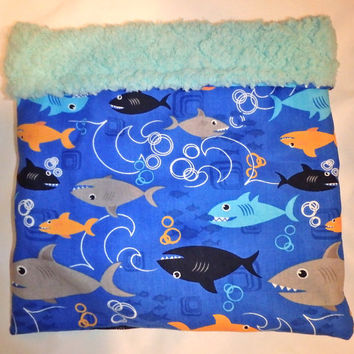 SALE Deluxe Shark and Fish Cotton with Aqua Fluffy Fabric Snuggle Bag