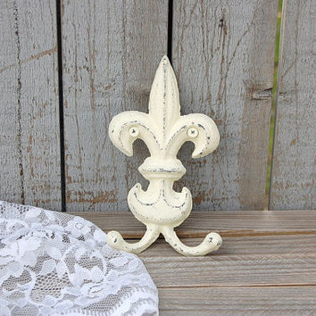 Shabby Chic Hook, Fleur de Lis, Cast Iron, Ivory, Hand Painted, Double Hook, Metal, Distressed, French Decor, Coat, Purse, Towel