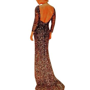 Sexy Backless Sequin Maxi Dress Elegant Evening Paillette Robe Sexy Bodycon Bustier Party Dress spaghetti mermaid dresses