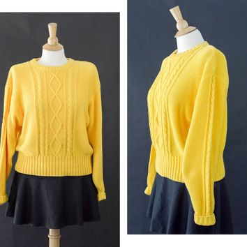 Vintage Yellow Fisherman Sweater, Lizsport Sweater, 80s Sweater, Oversized Sweater, Cotton Cable Knit Sweater, Women's Size Large