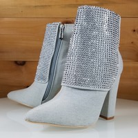CR Bleach Wash Denim Rhinestone Chunky High Heel Ankle