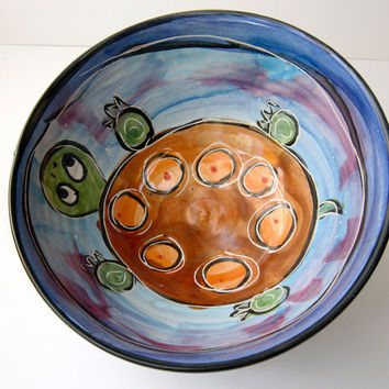Majolica Pottery Bowl Earthenware Clay Brown Spotted Turtle on Blue Cereal Bowl by ClayLickCreekPottery